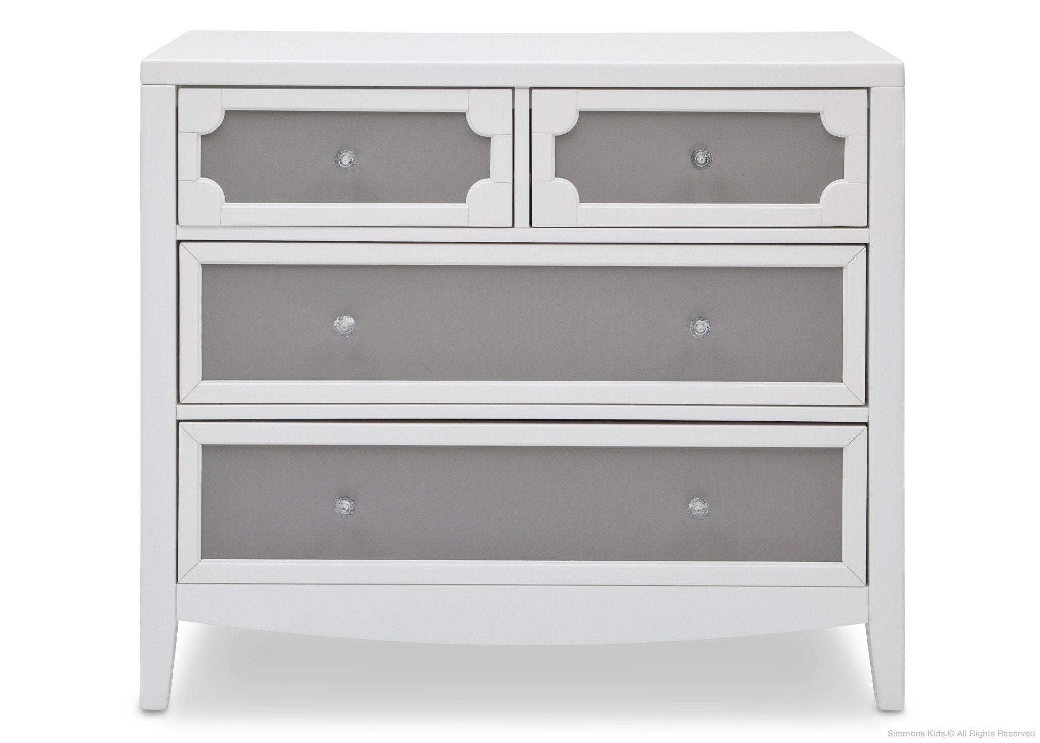 Simmons Kids Antique White/Grey (066) Hollywood 4 Drawer Chest Front View a1a
