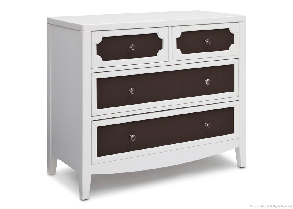 Simmons Kids White/Dark Chocolate (141) Hollywood 4 Drawer Chest Angle View b2b
