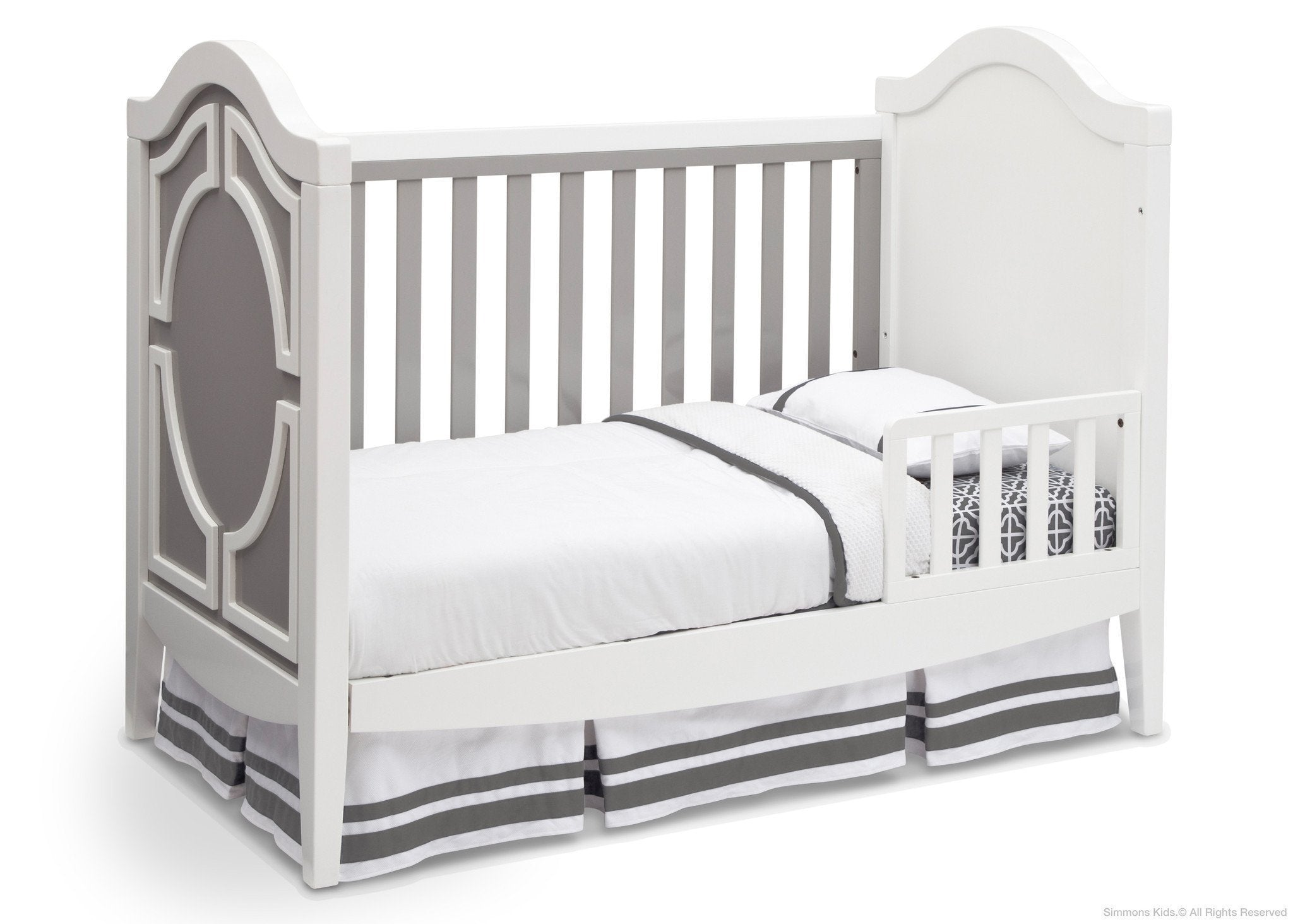 Simmons Kids Antique White/Grey (066) Hollywood 3-in-1 Crib, Toddler Bed Conversion a4a