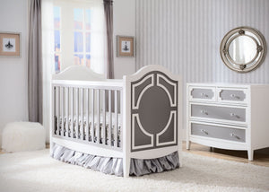 Simmons Kids Antique White/Grey (066) Hollywood 3-in-1 Crib, Crib Conversion in Setting a1a