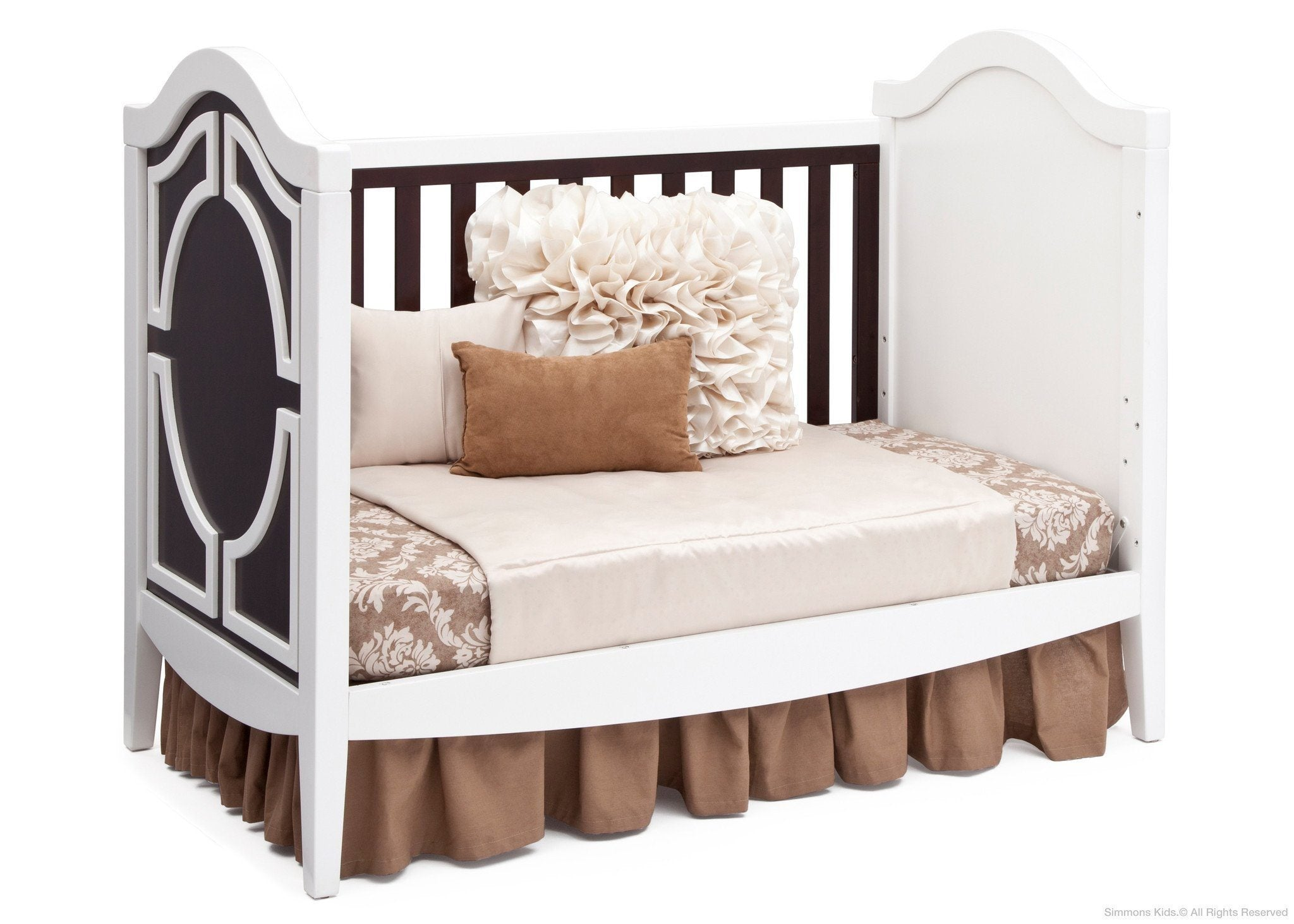 Simmons Kids White/Dark Chocolate (141) Hollywood 3-in-1 Crib, Day Bed Conversion c5c