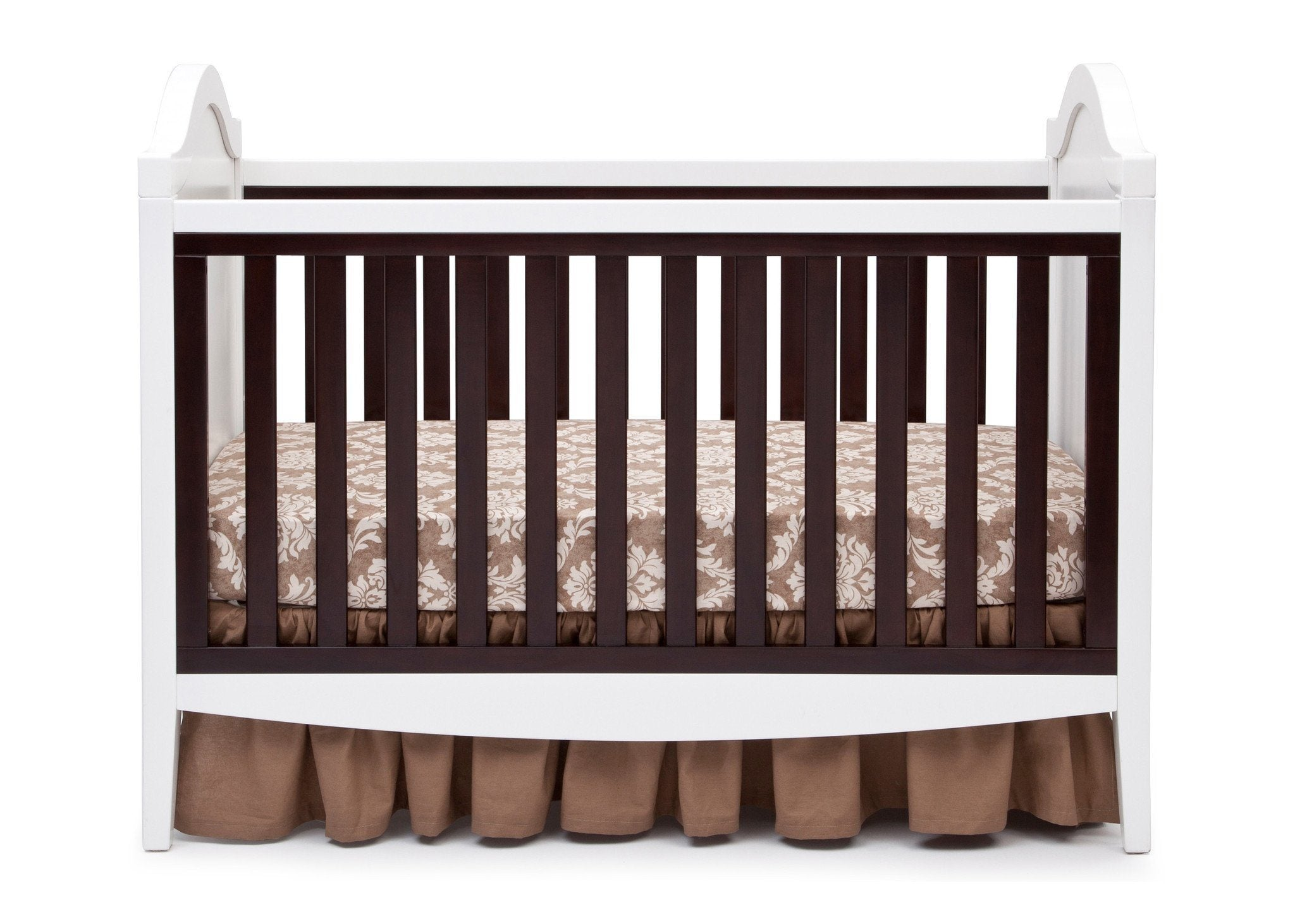 Simmons Kids White/Dark Chocolate (141) Hollywood 3-in-1 Crib, Crib Conversion Front View b2b