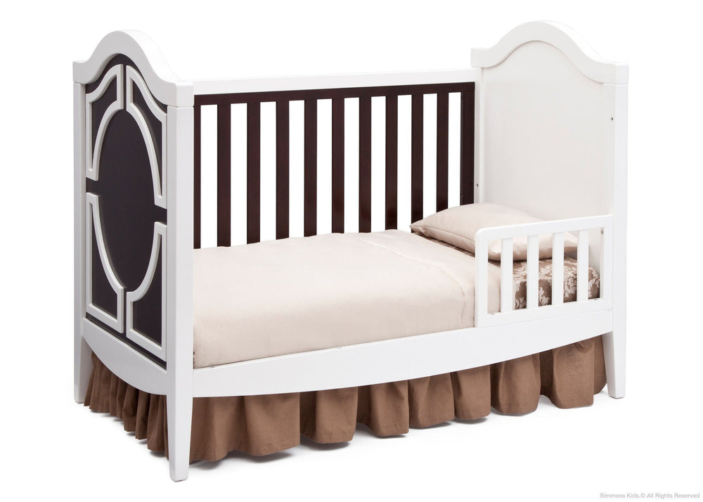 Simmons Kids White/Dark Chocolate (141) Hollywood 3-in-1 Crib, Toddler Bed Conversion c4c