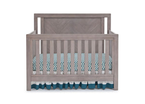 Simmons Kids Stained Grey (054) Chevron Crib 'N' More, Crib Conversion Front View a1a