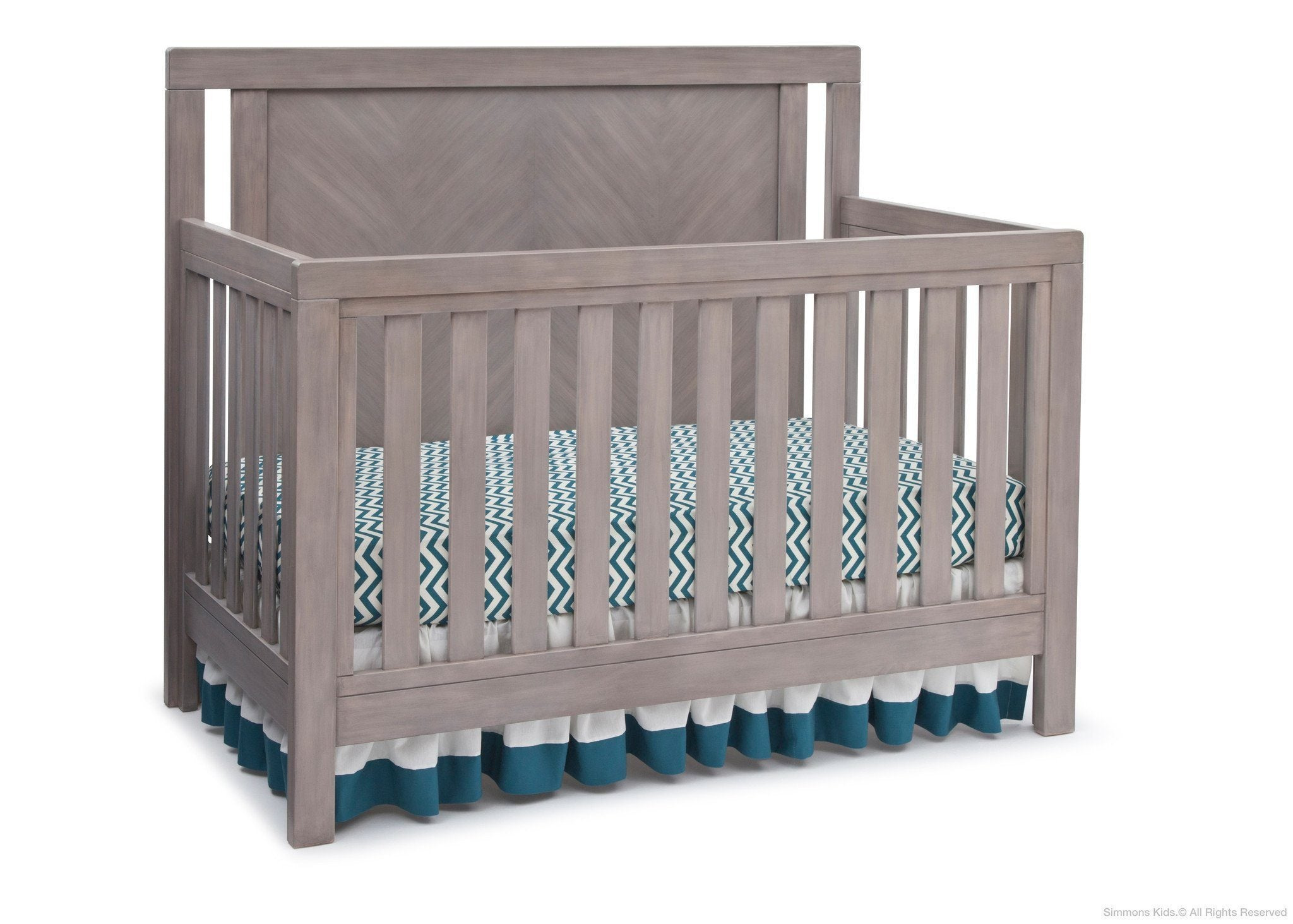Simmons Kids Stained Grey (054) Chevron Crib 'N' More, Crib Conversion