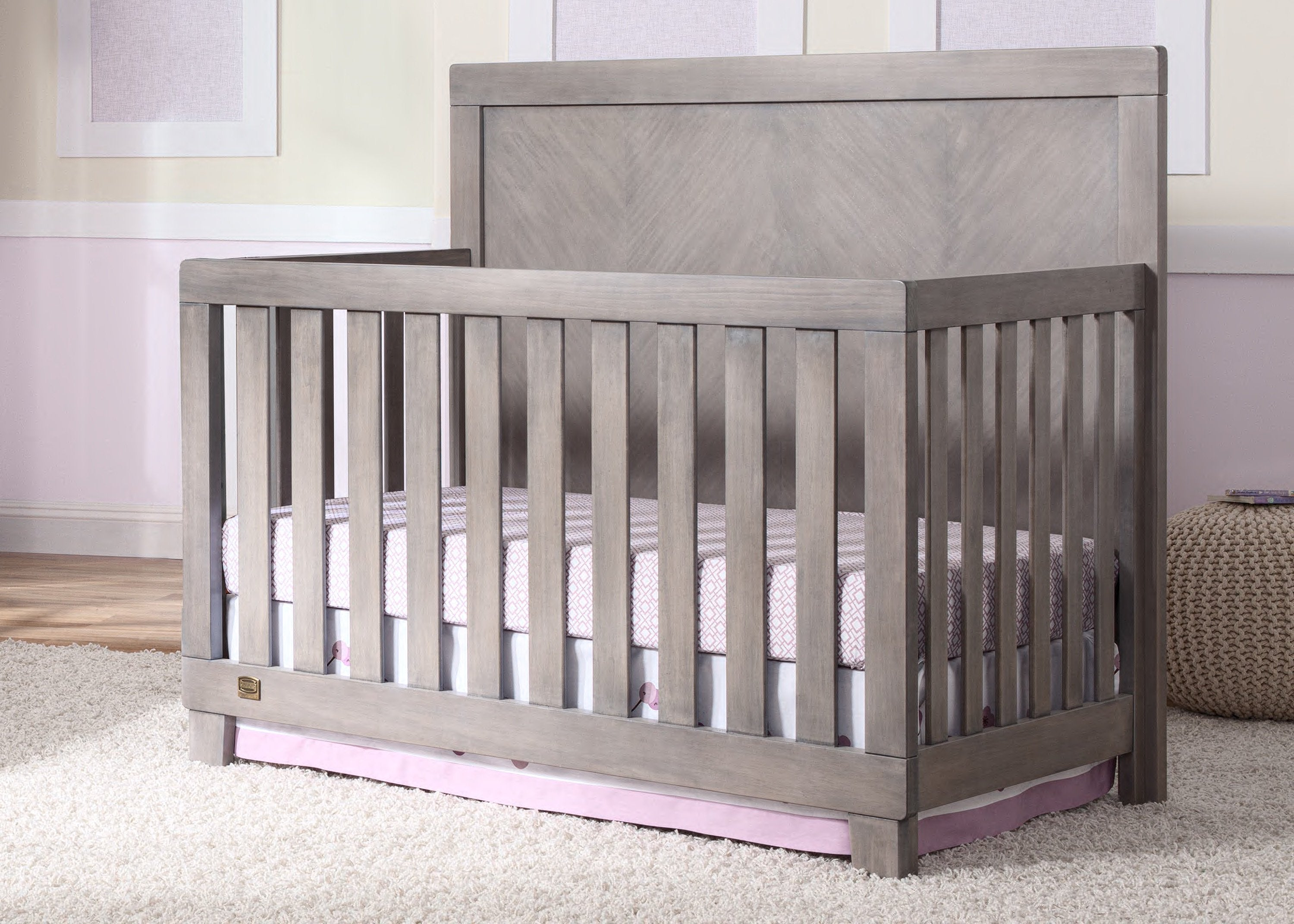 Simmons Kids Stained Grey (054) Bellante 4-in-1 Crib, Room Shot a0a