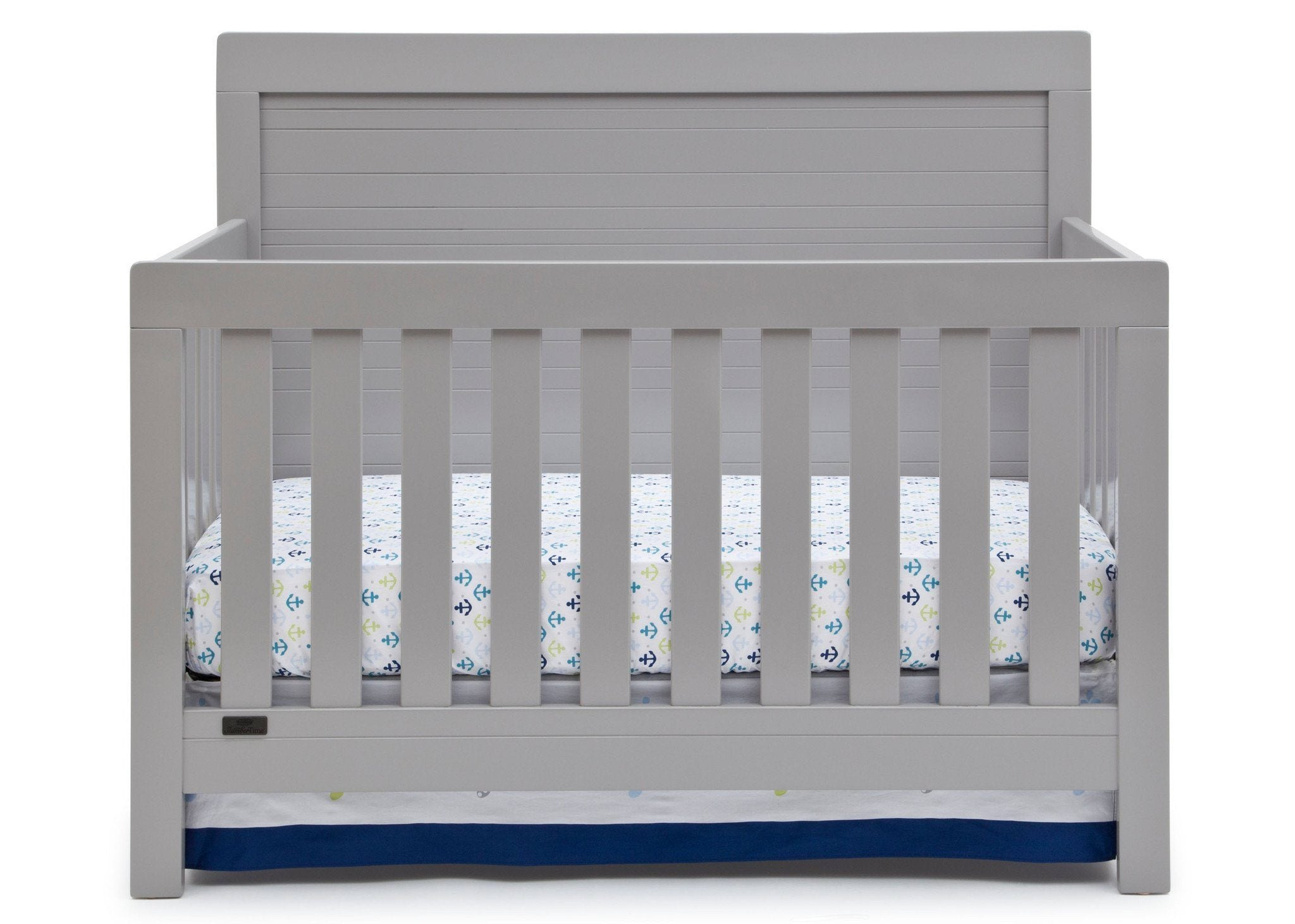 Simmons Kids Grey (026) Rowen Crib (320180), Front View with Crib Conversion a1a