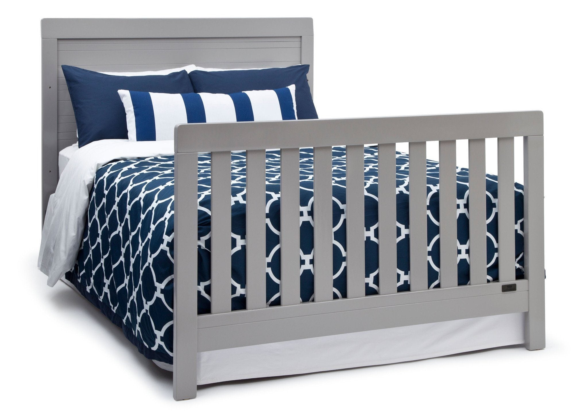 Simmons Kids Grey (026) Rowen Crib (320180), Side View with Full-Size Bed Conversion a6a