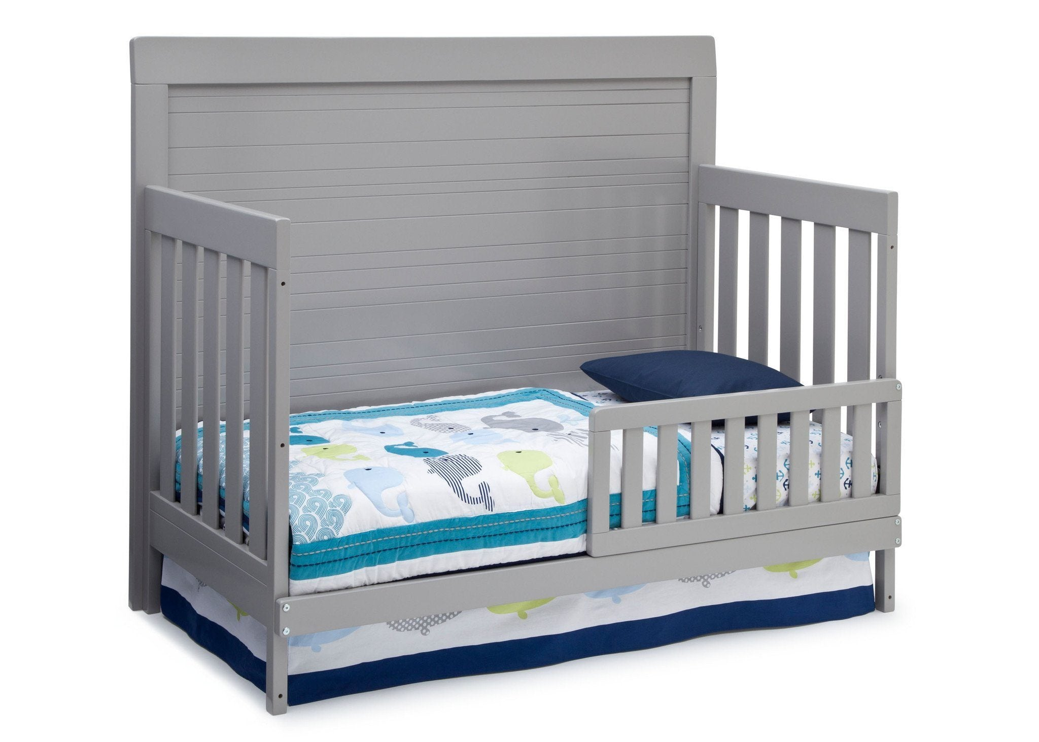 Simmons Kids Grey (026) Rowen Crib (320180), Side View with Toddler Bed Conversion a3a