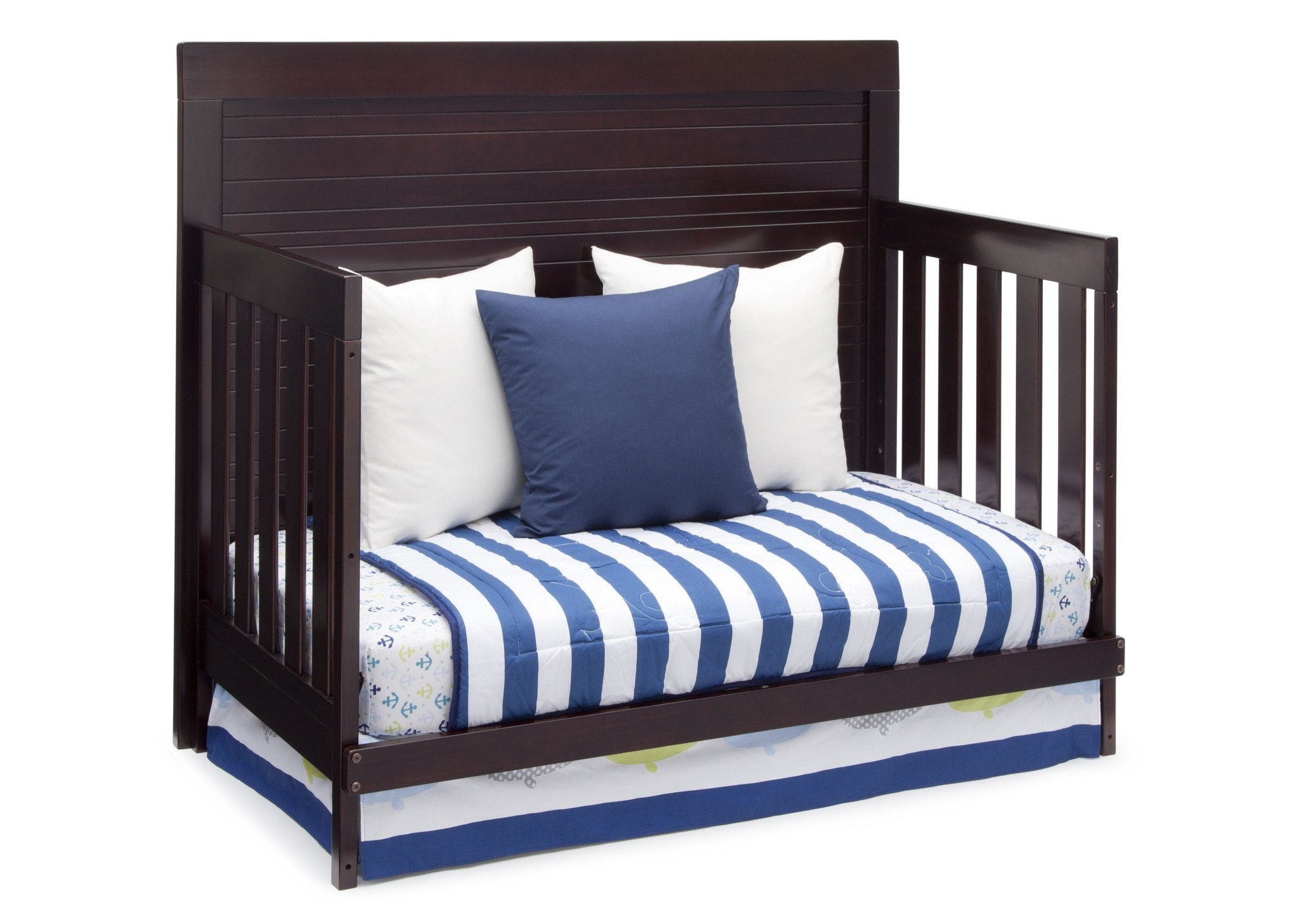 Simmons Kids Black Espresso (907) Simmons Kids Rowen Crib (320180), Side View with Day Bed Conversion b4b