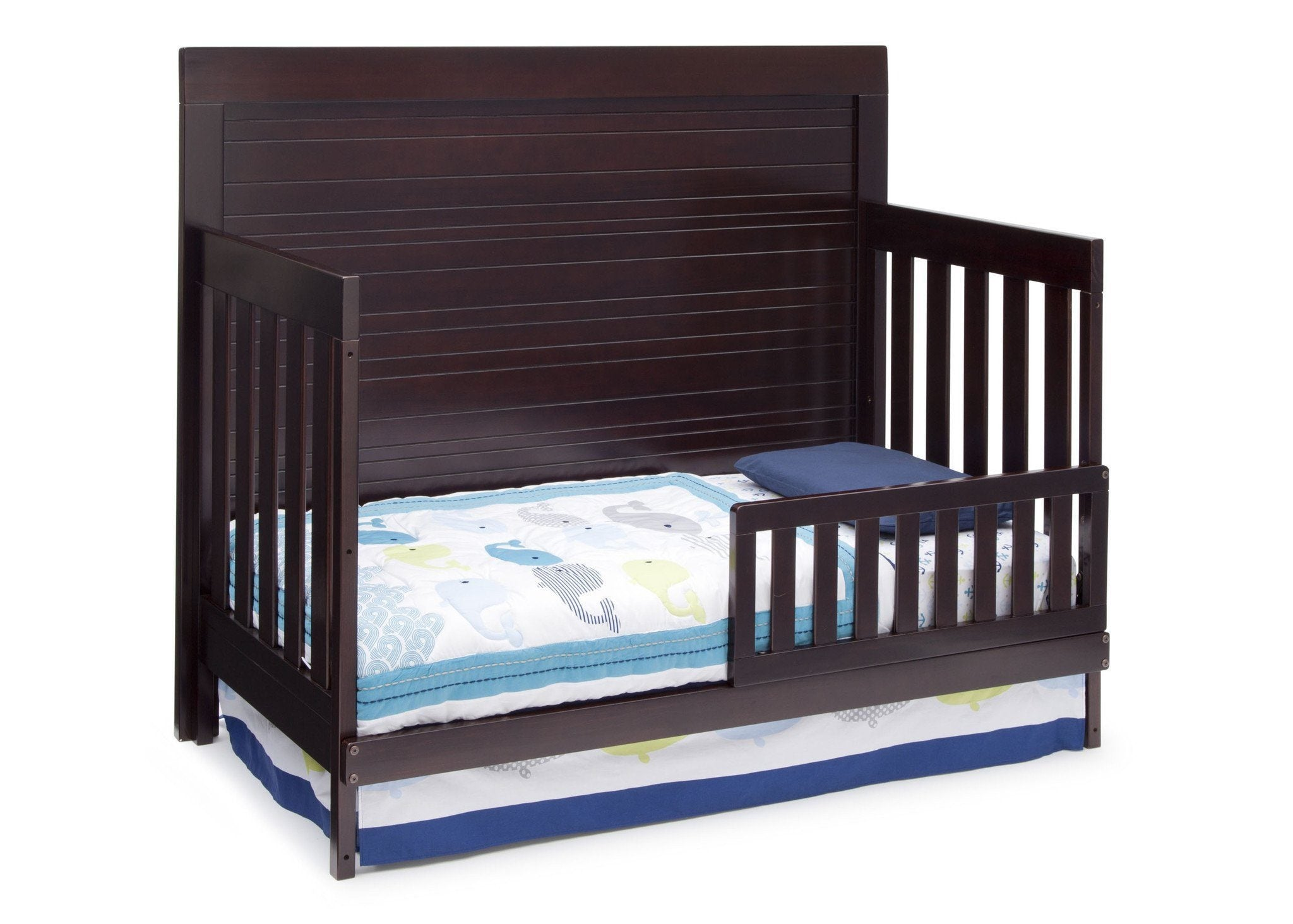 Simmons Kids Black Espresso (907) Simmons Kids Rowen Crib (320180), Side View with Toddler Bed Conversion b3b