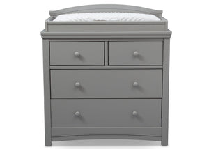 Simmons Kids Grey (026) Emma 4 Drawer Dresser with Changing Top Front Facing View with Pad a1a