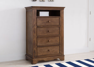 Simmons Kids Antique Chestnut (2100) Tivoli 4 Drawer Chest with Cubby, Hangtag View, b1b