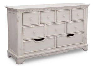 Simmons Kids Antique White (122) Tivoli 9 Drawer Dresser, Angled View, a3a