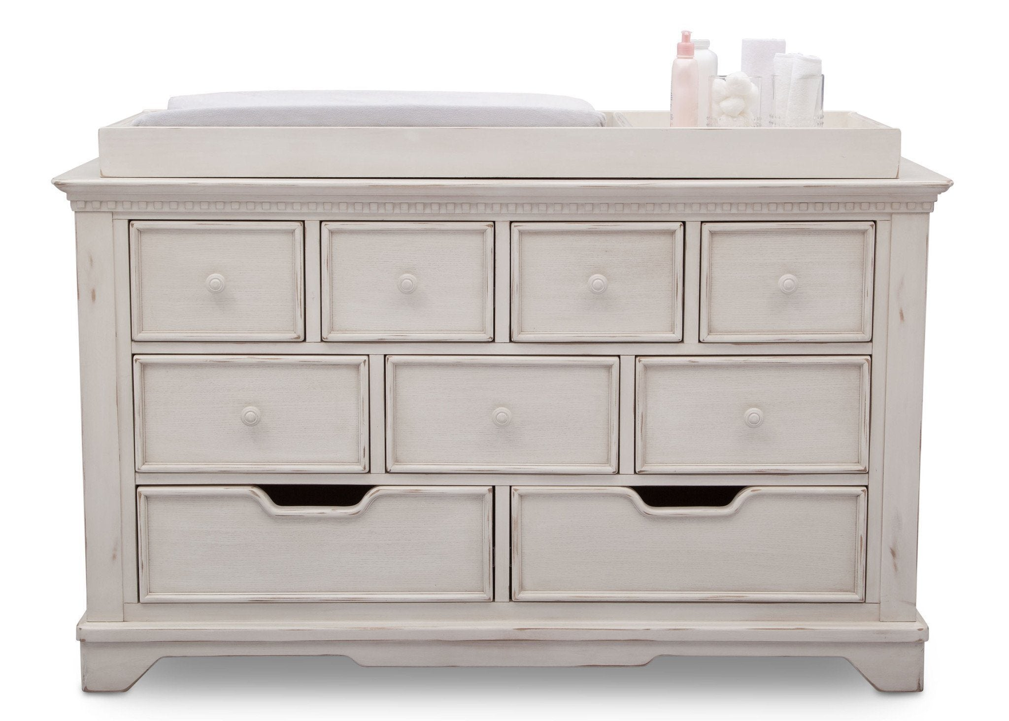 Simmons Kids Antique White (122) Tivoli 9 Drawer Dresser, Front View, a2a