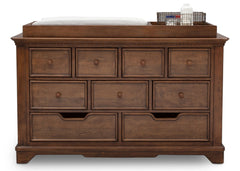 Simmons Kids Antique Chestnut (2100) Tivoli 9 Drawer Dresser, Front View, b2b