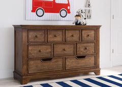 Simmons Kids Antique Chestnut (2100) Tivoli 9 Drawer Dresser, Hangtag View, b1b