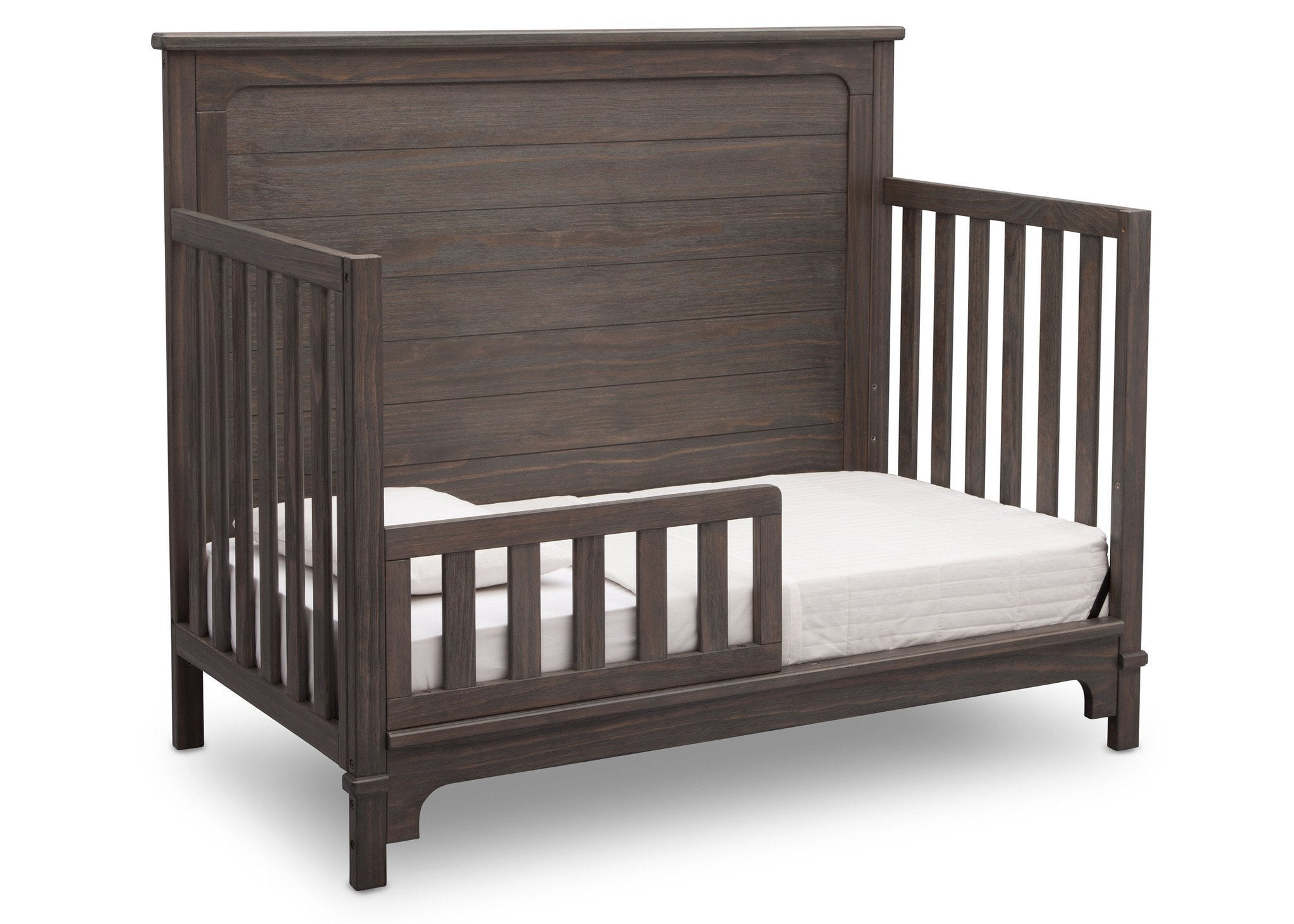 Simmons Kids Rustic Grey (084) Monterey Crib 'N' More, Toddler Bed Conversion Side View a4a