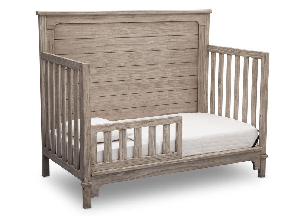 Simmons Kids Rustic White (119) Monterey Crib 'N' More, Toddler Bed Conversion Side View b4b