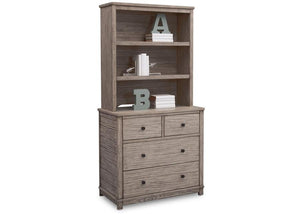Delta Children Rustic White (119) Modern Rustic Hutch for Dresser, Right Silo View with Dresser