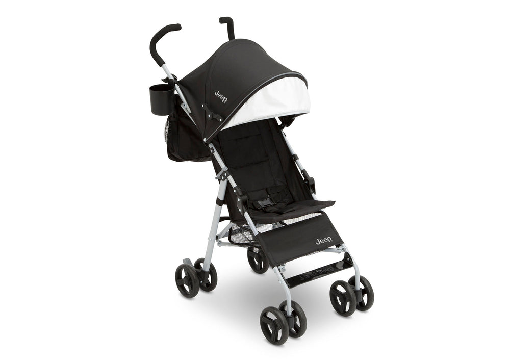 Delta Children Black with Neutral Grey (2277) J is for Jeep Brand North Star Stroller, Front View c1c