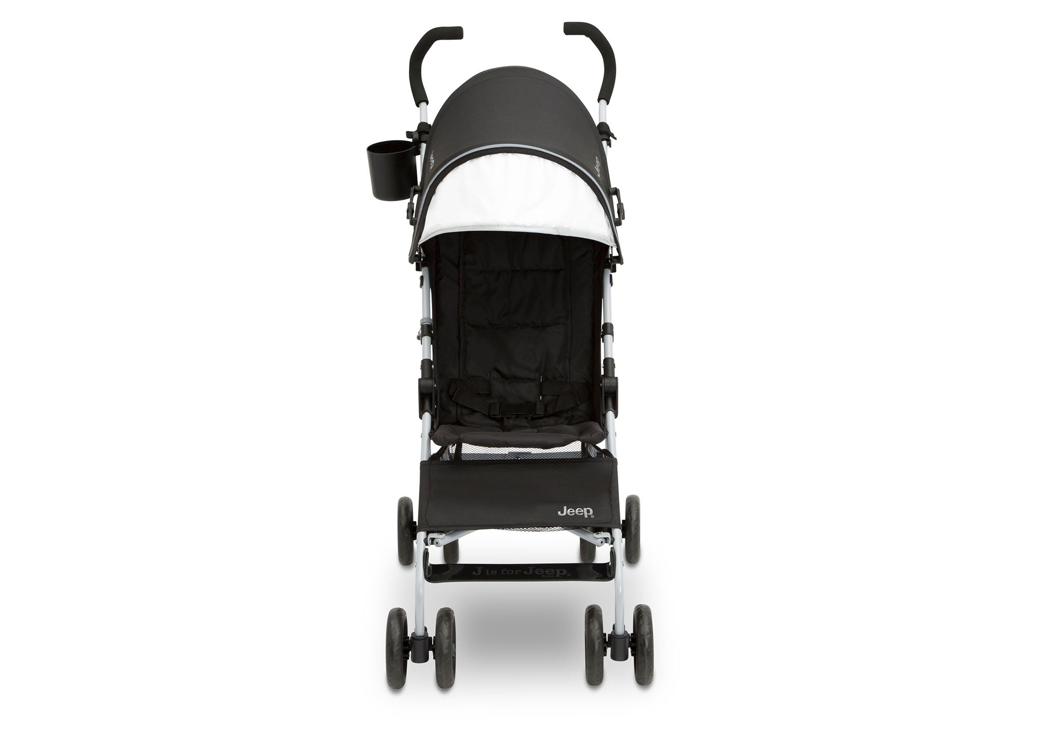 Jeep North Star Stroller by Delta Children, Black with Neutral Grey (2277), with extendable European-style canopy with sun visor