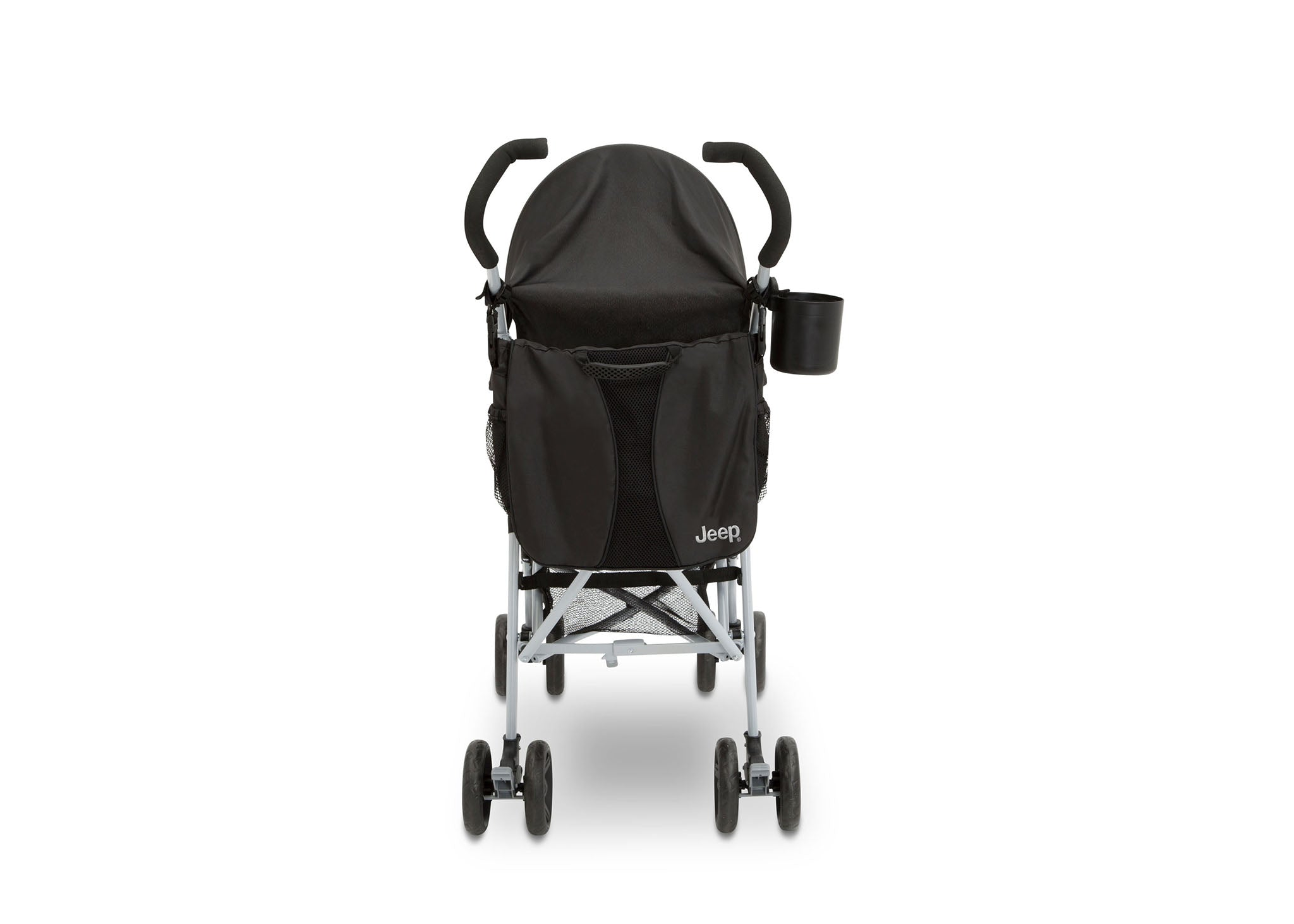 Jeep North Star Stroller by Delta Children, Black with Neutral Grey (2277), with Parent cup holder and easy-grip, extra-long foam handles
