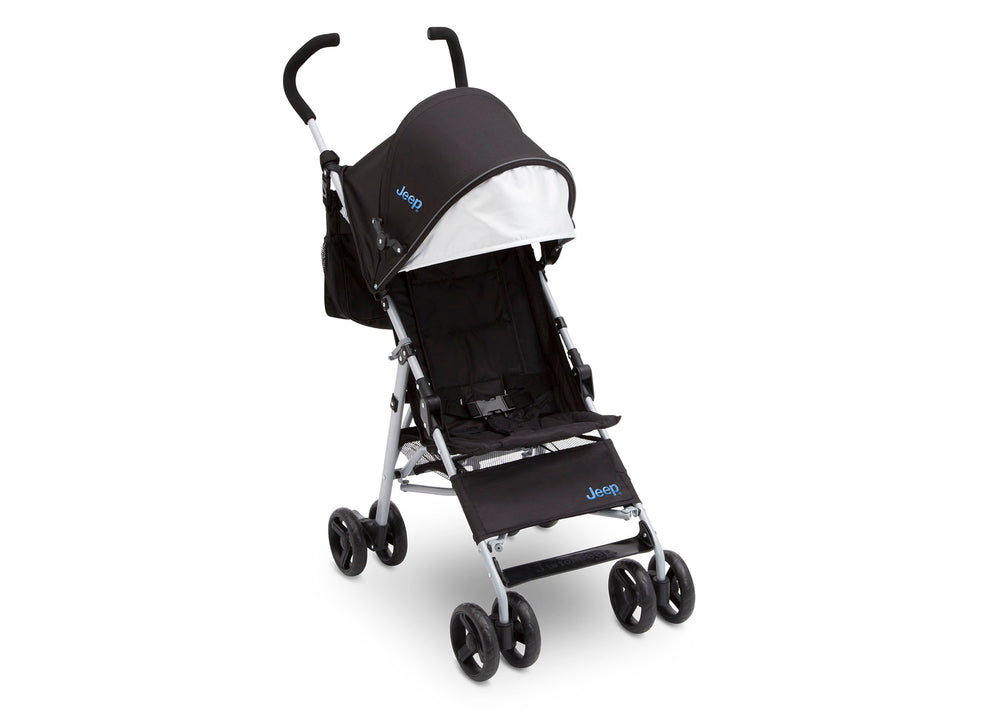Delta Children Black with Baby Blue (2279) J is for Jeep Brand North Star Stroller, Front View d0d