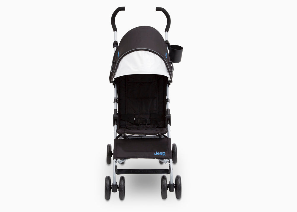 Delta Children Black with Baby Blue (2279) J is for Jeep Brand North Star Stroller, Front View d1d