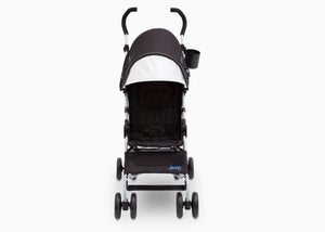 Jeep North Star Stroller by Delta Children, Black with Baby Blue (2279), with extendable European-style canopy with sun visor
