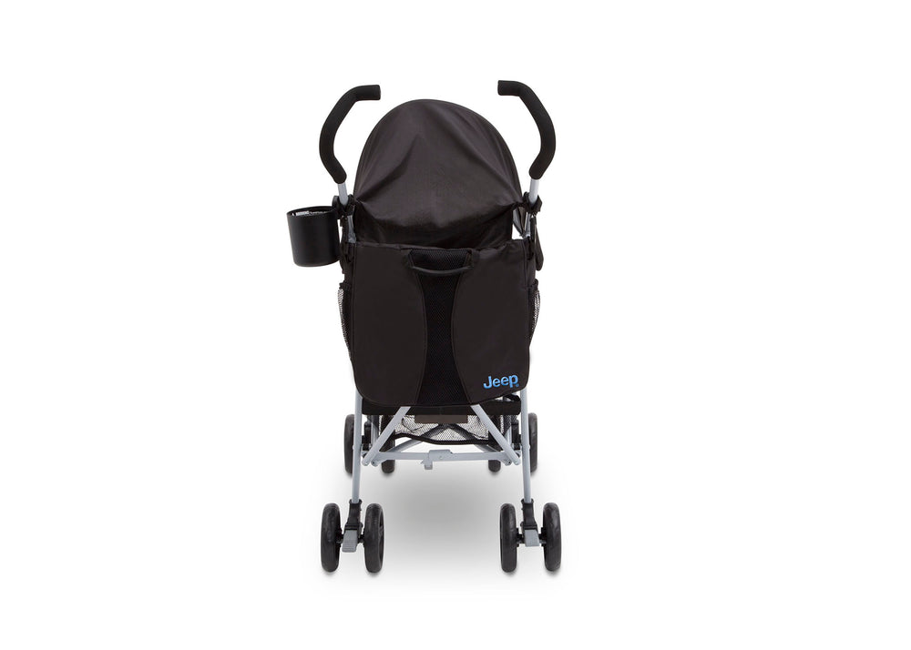 Delta Children Black with Baby Blue (2279) J is for Jeep Brand North Star Stroller, Back View d2d