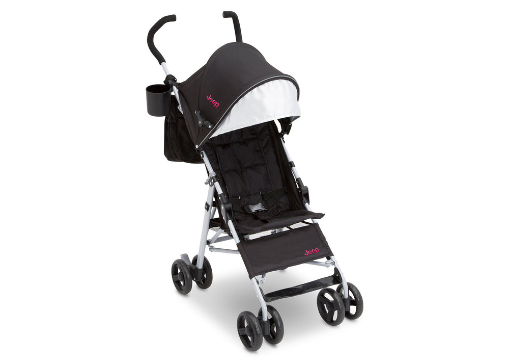 Delta Children Black with Bright Burgundy (488) J is for Jeep Brand North Star Stroller, Right Side View a1a