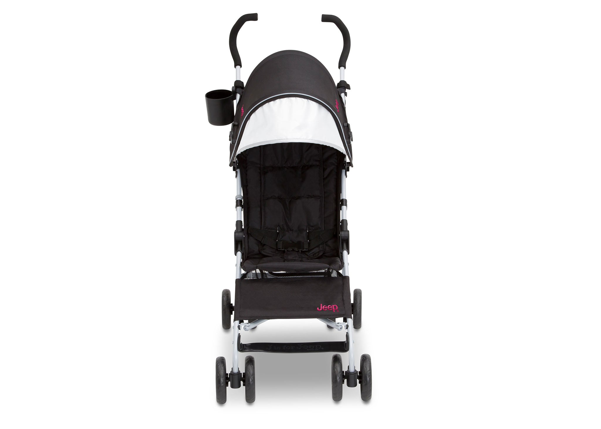 Jeep North Star Stroller by Delta Children, Black with Bright Burgundy (488), with extendable European-style canopy with sun visor