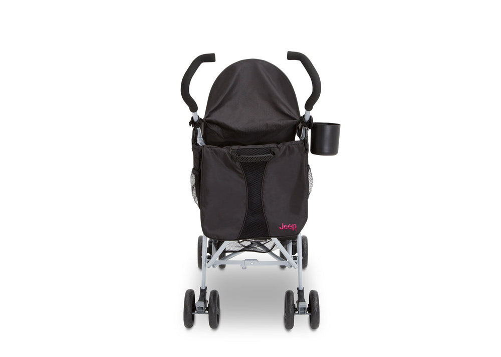 Delta Children Black with Bright Burgundy (488) J is for Jeep Brand North Star Stroller, Back View a2a