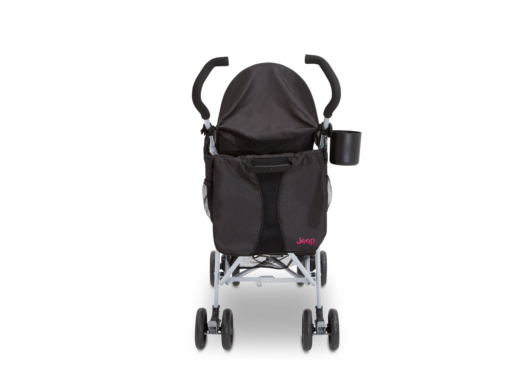 Jeep North Star Stroller by Delta Children, Black with Bright Burgundy (488), with Parent cup holder and easy-grip, extra-long foam handles