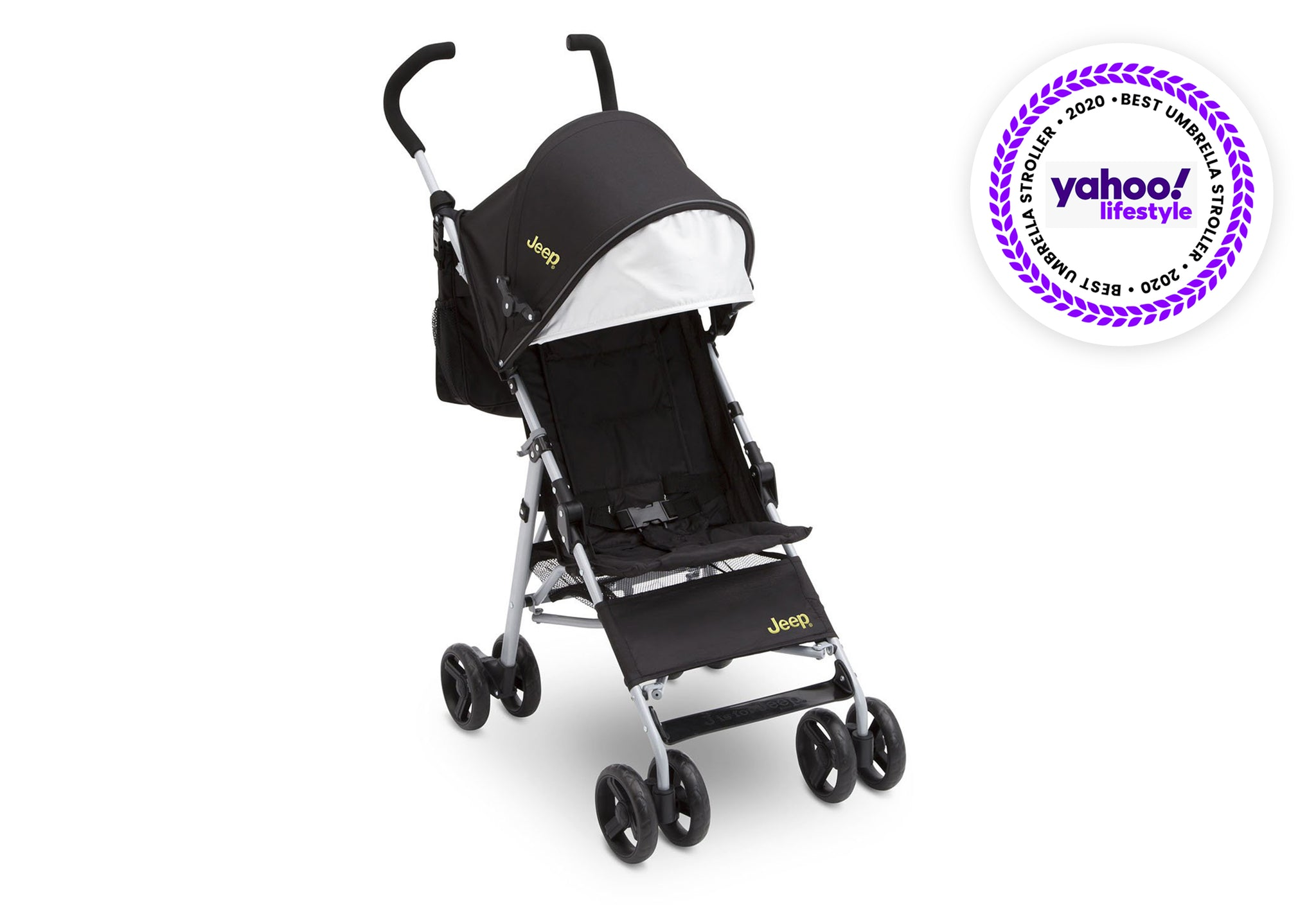 Jeep North Star Stroller by Delta Children, Black with Mellow Yellow (731), with padded seat