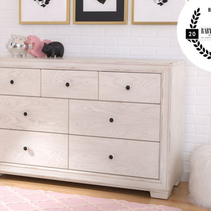 Simmons Kids Antique White (122) Ravello 7 Drawer Dresser, Hangtag View, a1a