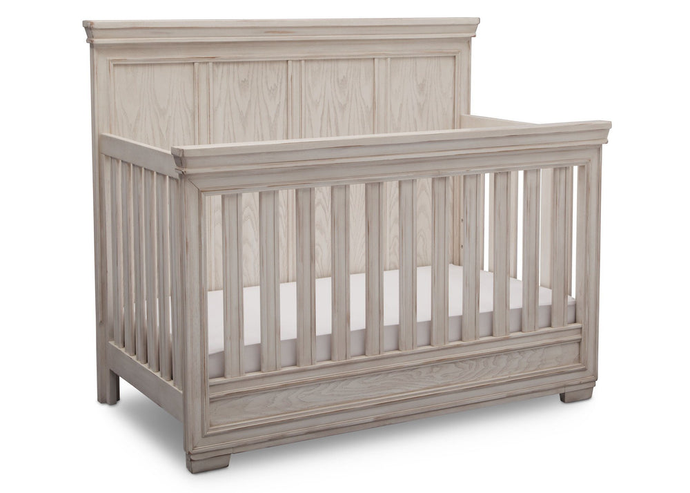 Simmons Kids Antique White (122) Ravello Crib 'N' More, Angled View, b3b