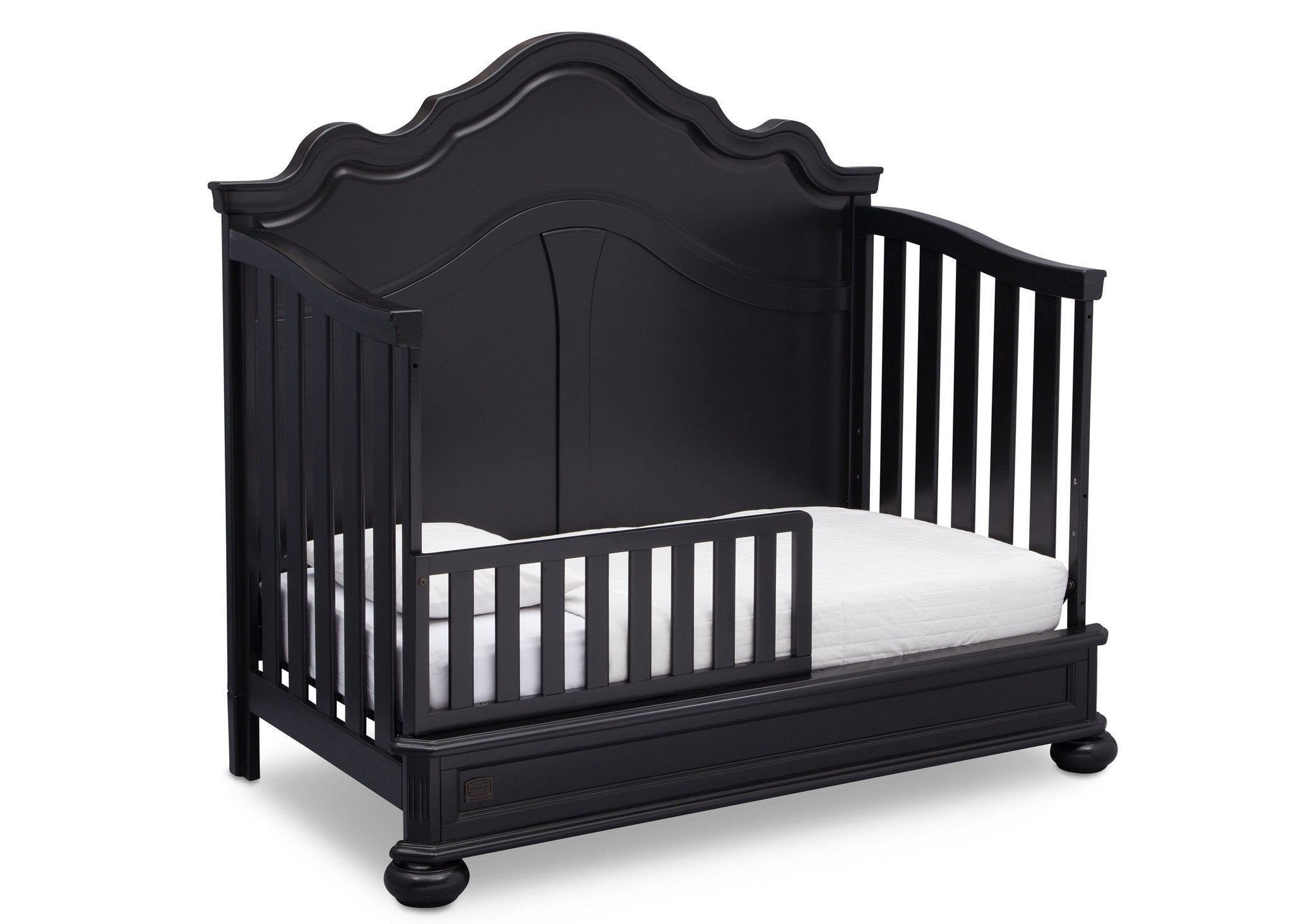 Simmons Kids Ebony (0011) Peyton Crib n' more toddler bed conversion side view b4b