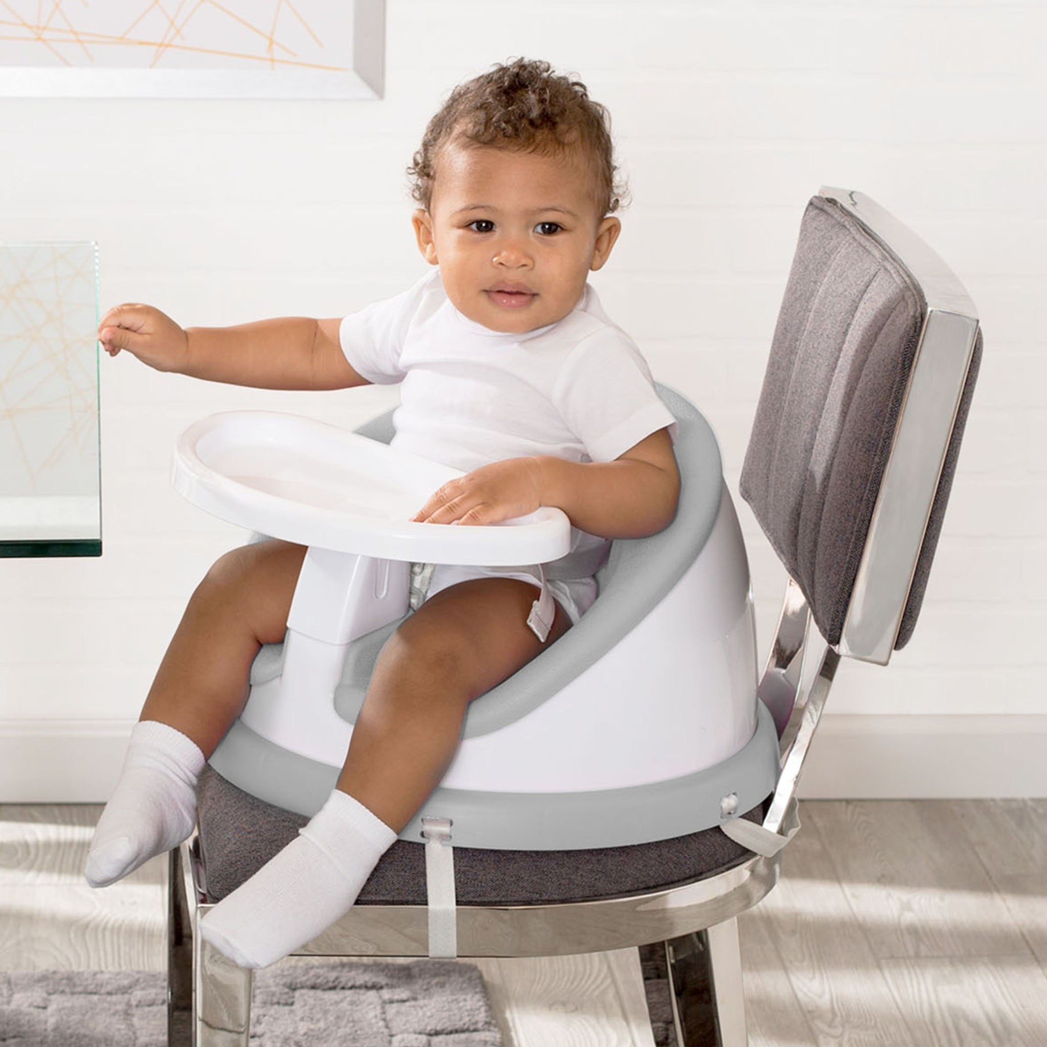 Delta Children Grey (2288) Deluxe Multi-Use Booster Seat with 180-Degree Swivel (44201), Lifetime View