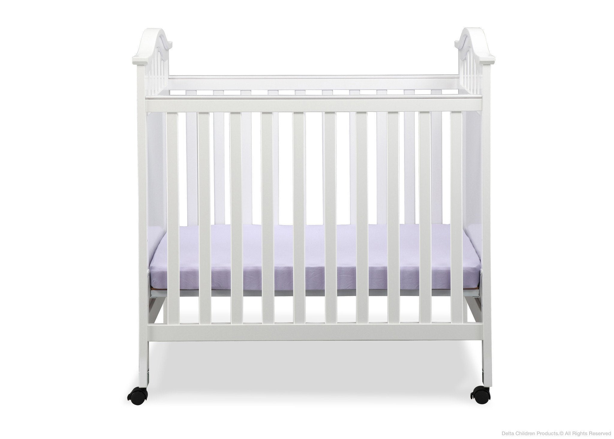 Delta Children White (100) Bella Cozy Portable Crib Front View a1a