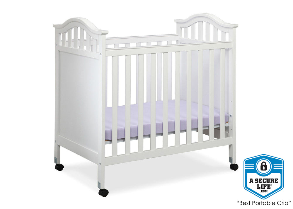 Delta Children White (100) Bella Cozy Portable Crib, With Seal, a3a