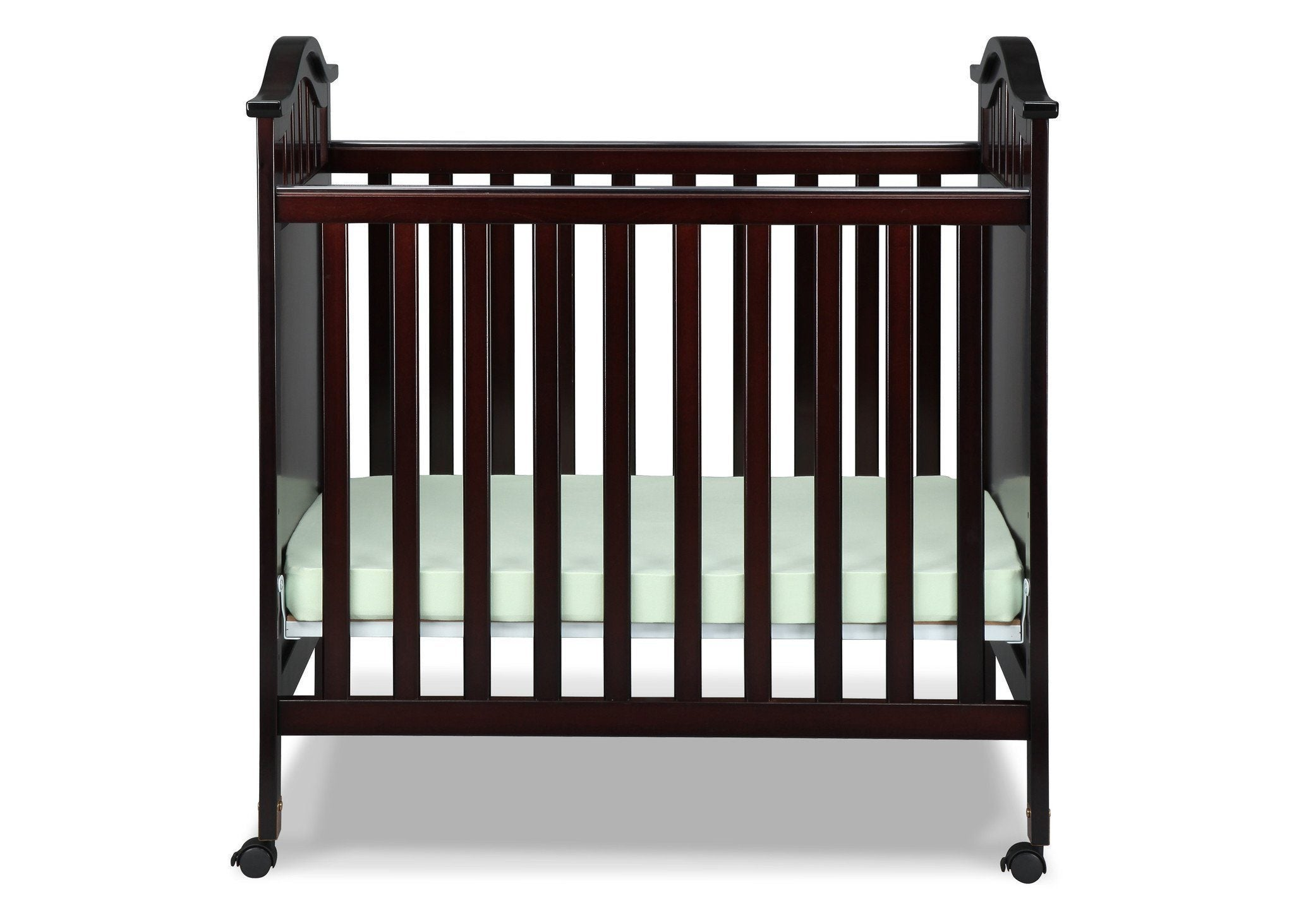 Delta Children Dark Chocolate (207) Bella Cozy Portable Crib Front View b1b