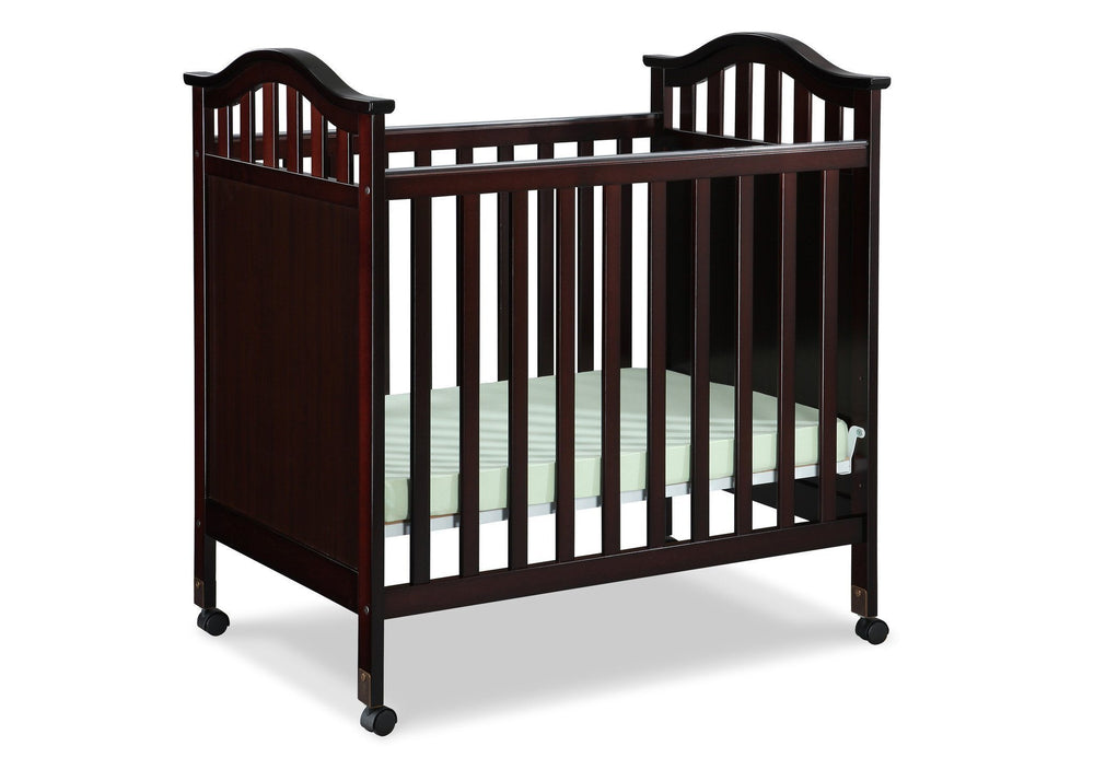 Delta Children Dark Chocolate (207) Bella Cozy Portable Crib Side View Right b2b