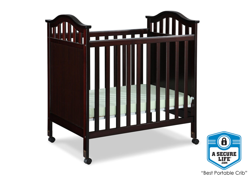 Delta Children Dark Chocolate (207) Bella Cozy Portable Crib Side, With Seal, b3b