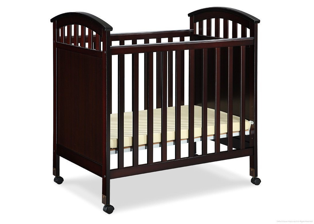 Delta Children Dark Chocolate (207) Americana Cozy Crib Side View b1b