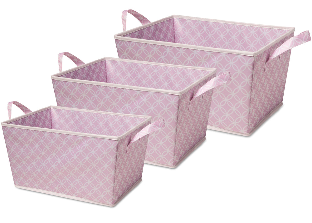 Delta Children Set of Three Tapered Totes Pink Geo (694) (SS4462), Set of Three, f2f