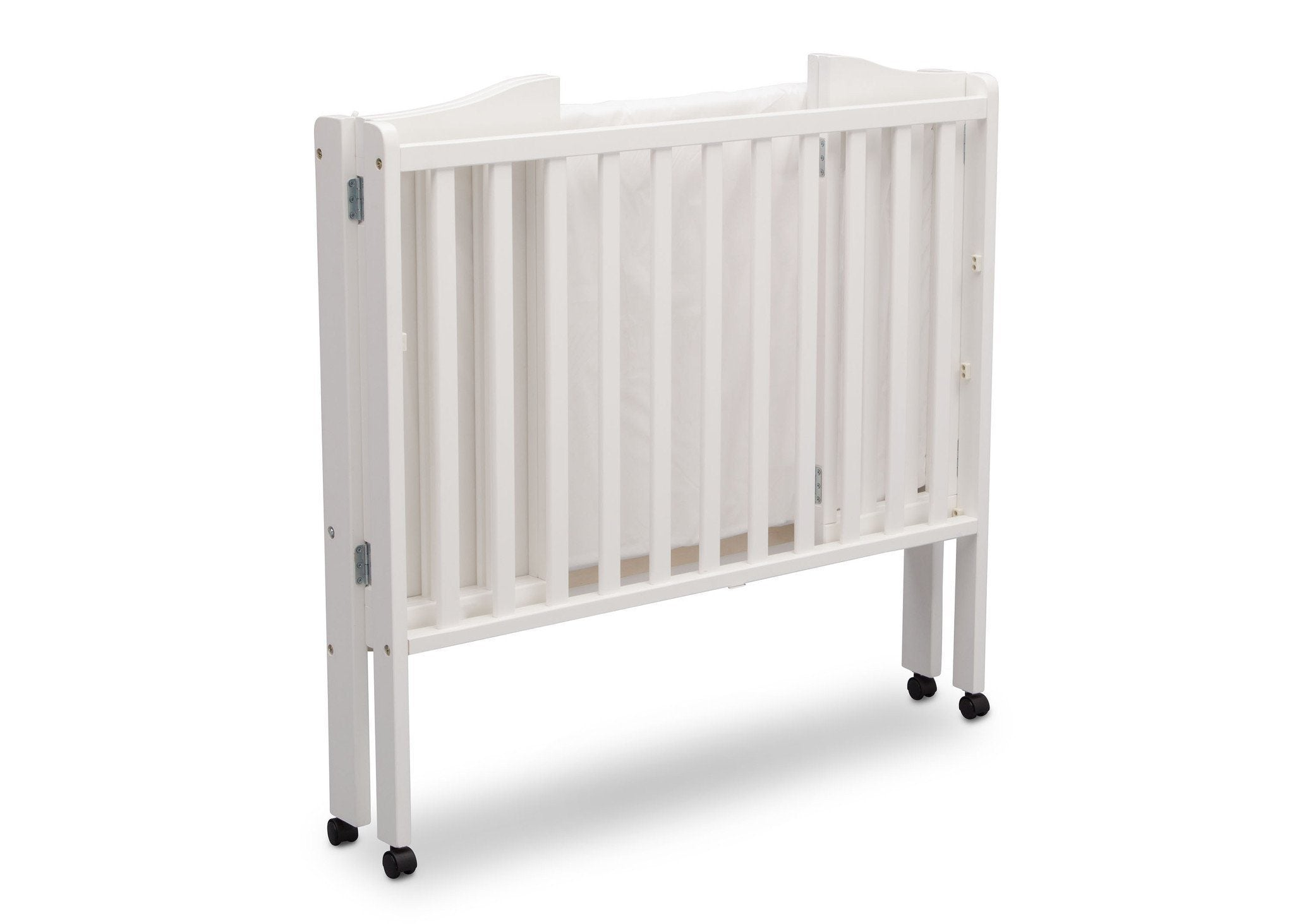 ... Delta Children Bianca (130) Portable Folding Crib With Mattress, Angled  Folded View A7a