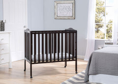 Delta Children Dark Espresso (958) Portable Folding Crib with Mattress, hangtag c2c