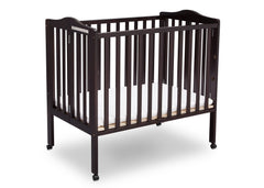 Delta Children Dark Espresso (958) Portable Folding Crib with Mattress, angled view c4c
